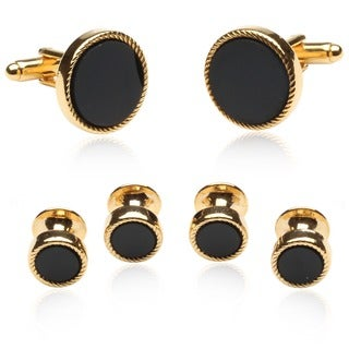 Cuff Daddy 14k Yellow Overlay Black Onlyx 6-piece Cuff Link Set