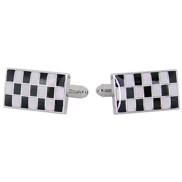 Cuff Daddy Rhodium Silver Checker Cufflinks