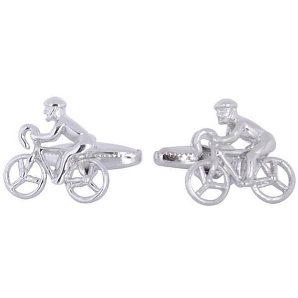 Cuff Daddy Rhodium Silver Cycling Cufflinks