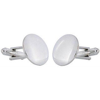 Cuff Daddy Rhodium silver Convex Mirror Cufflinks