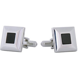 Cuff Daddy Rhodium Silver Classic Blacks Cufflinks