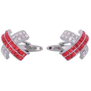 Cuff Daddy Rhodium Red Crystal Cufflinks