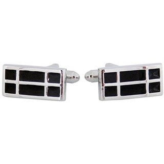 Cuff Daddy Silvertone Black Enamel Cuff Links