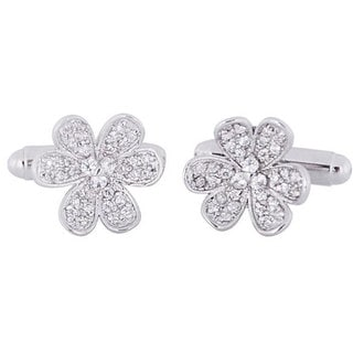 Cuff Daddy Silvertone Women's Cubic Zirconia Flower Cuff Links