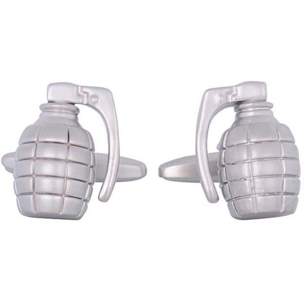 Cuff Daddy Rhodium Silver Grenade Cufflinks