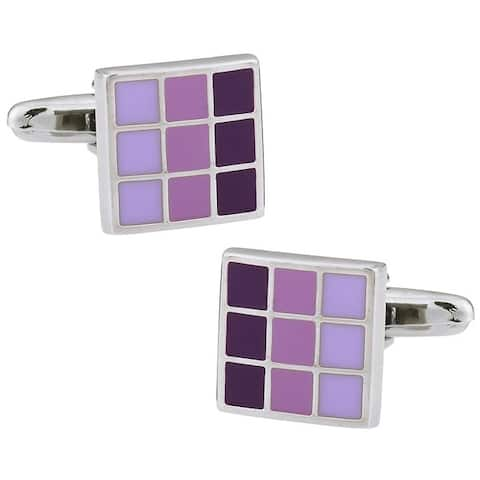Cuff Daddy Rhodium Silver Purple Cufflinks