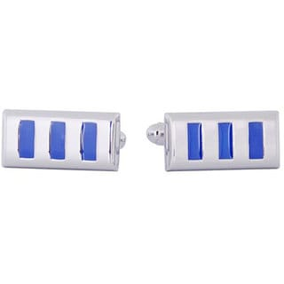 Cuff Daddy Rhodium Silver Blue Window Cufflinks