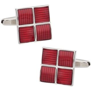 Cuff Daddy Rhodium Silver Red Foursquare Cufflinks