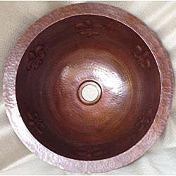 Round Bronzed Copper Fleur de Lis Undermount 15-inch Sink - Thumbnail 2