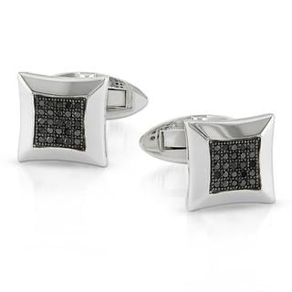 Miadora Sterling Silver 1/4ct TDW Black Diamond Cuff Links