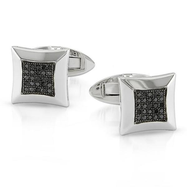 Miadora Sterling Silver 1/4ct TDW Black Diamond Cuff Links