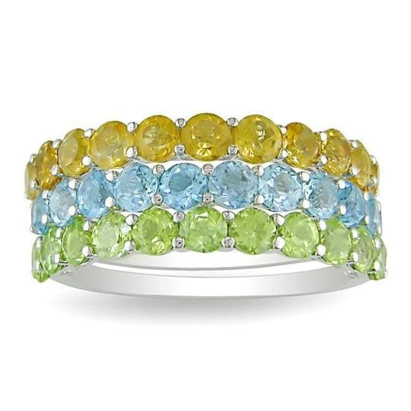 8b2a10aa508a2 Shop Miadora Stackable Sterling Silver Peridot, Citrine, and Blue ...
