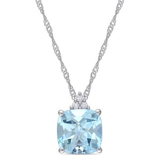 Miadora 10k White Gold Blue Topaz and Diamond Necklace