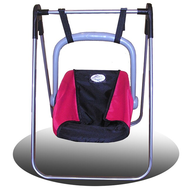 Two-in-one Durable Pink/Black Adjustable Doll Swing and Carrier