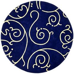 Hand-tufted Blue Archer Round Wool Rug (6' Round)