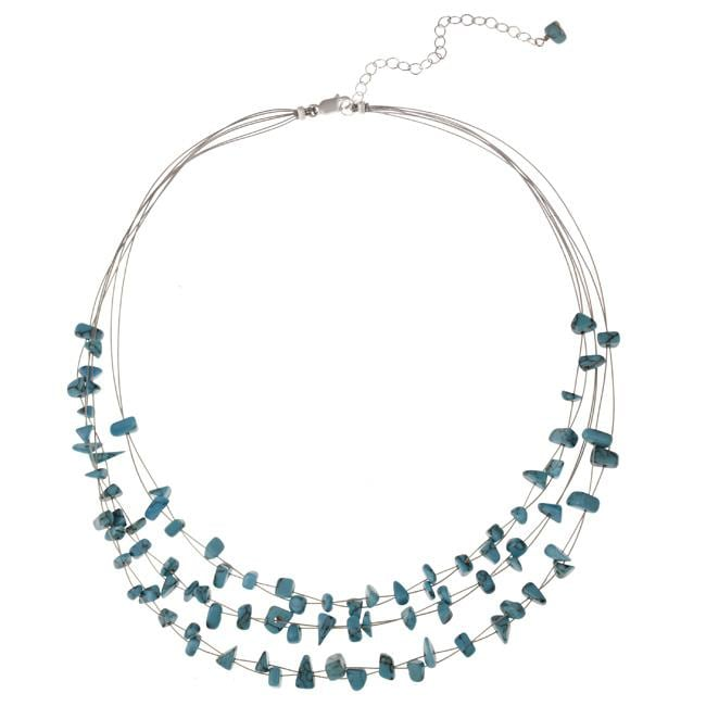 Glitzy Rocks Sterling Silver Turquoise Chip 3-row Wire Necklace