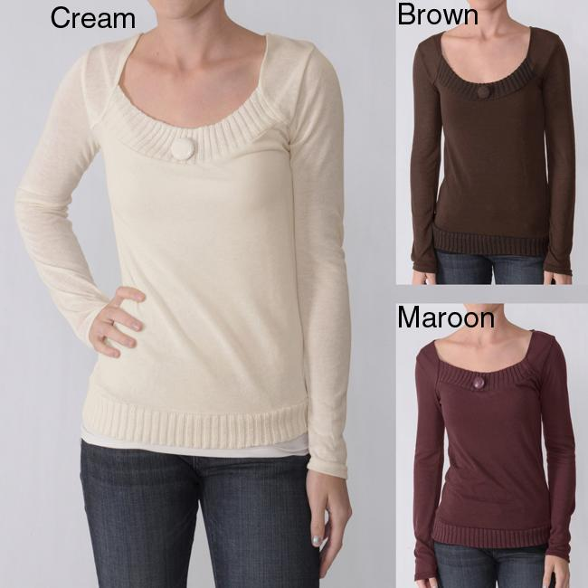 Everyday Juniors Single-button Accent Square Neck Top