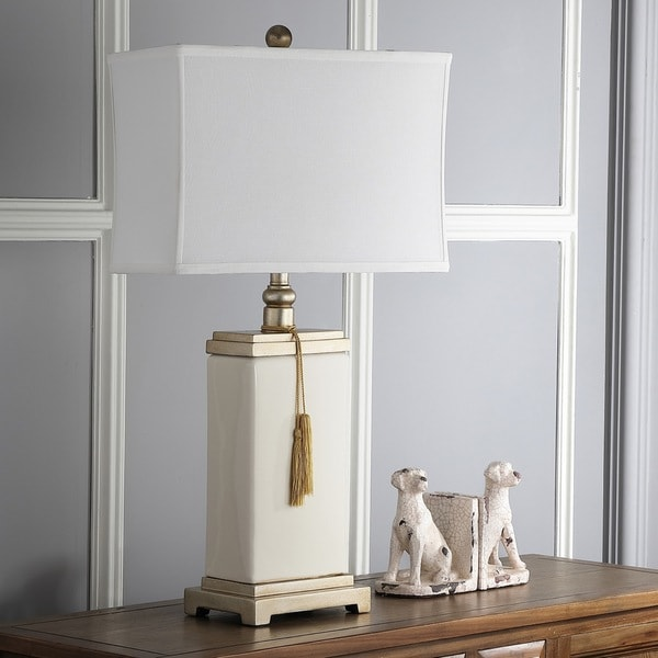 Safavieh Lighting 29.5-inch Porcelain White Table Lamp