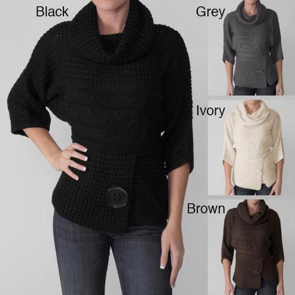 Adi Designs Junior's Cable Knit Turtleneck Sweater