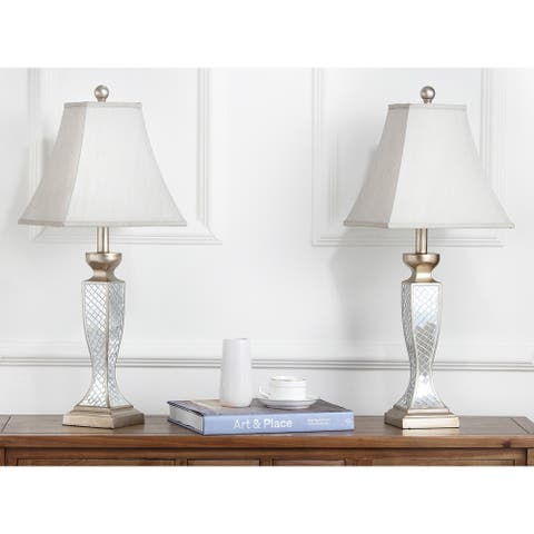 "Safavieh Lighting 28-inch Mirror Mosaic Table Lamp (Set of 2) - 11""x11""x28"""