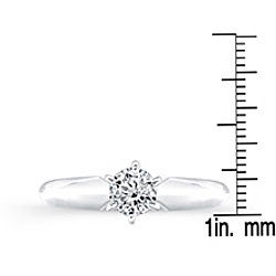 14k White Gold 1/2ct TDW Diamond Solitaire Engagement Ring (I-J, I1-I2) - Thumbnail 2