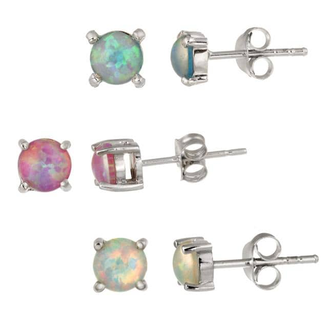 Glitzy Rocks Sterling Silver Multi Colored Created Opal Stud Earring Set