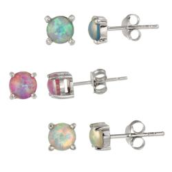 Glitzy Rocks Sterling Silver Multi-colored Created Opal Stud Earring Set