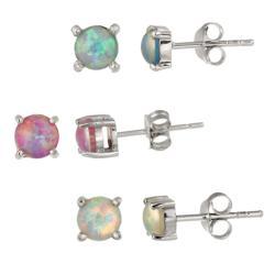 Glitzy Rocks Sterling Silver Multi-colored Created Opal Stud Earring Set