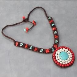 Handmade Cotton Dramatic Turquoise/ Pearl/ Coral Necklace (Thailand) - Thumbnail 1