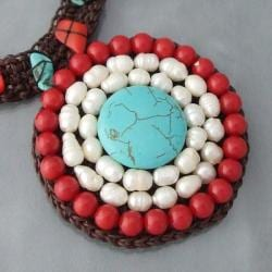 Handmade Cotton Dramatic Turquoise/ Pearl/ Coral Necklace (Thailand) - Thumbnail 2