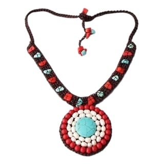 Dramatic Organic Turquoise Pearl Synthetic Coral Pendant Necklace