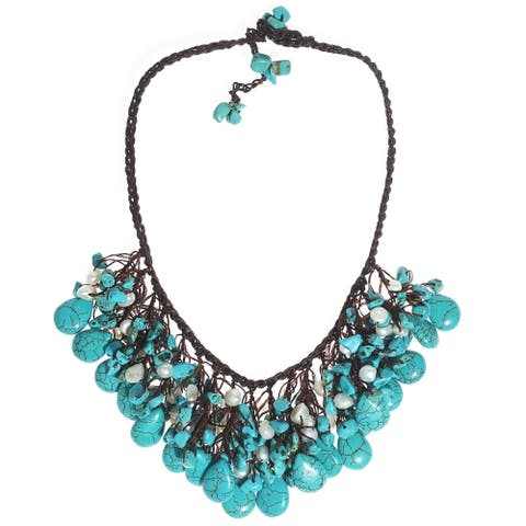 Handmade Cotton Clusters Teardrop Turquoise Pearl Necklace (Thailand)