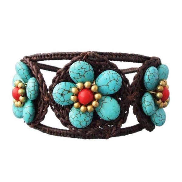 Handmade Turquoise/ Red/ White Triple Flower Adjustable Cuff Bracelet (Thailand)