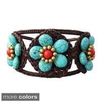 Handmade Turquoise/ Red/ White Triple Flower Adjustable Cuff Bracelet (Thailand)