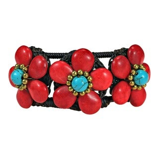 Turquoise/ Red/ White Triple Flower Adjustable Cuff Bracelet (Thailand)