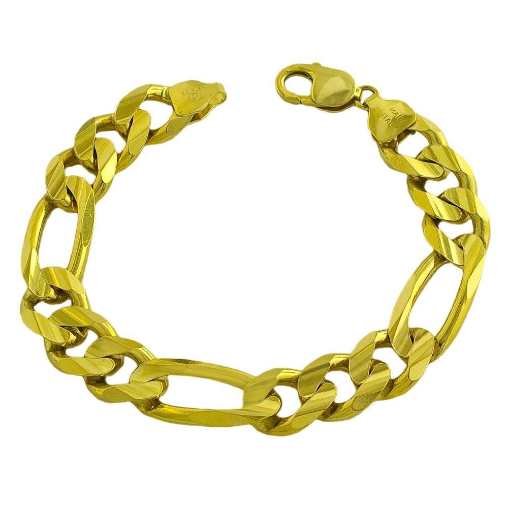 Fremada 14k Yellow Gold Men S Solid Figaro Bracelet 9