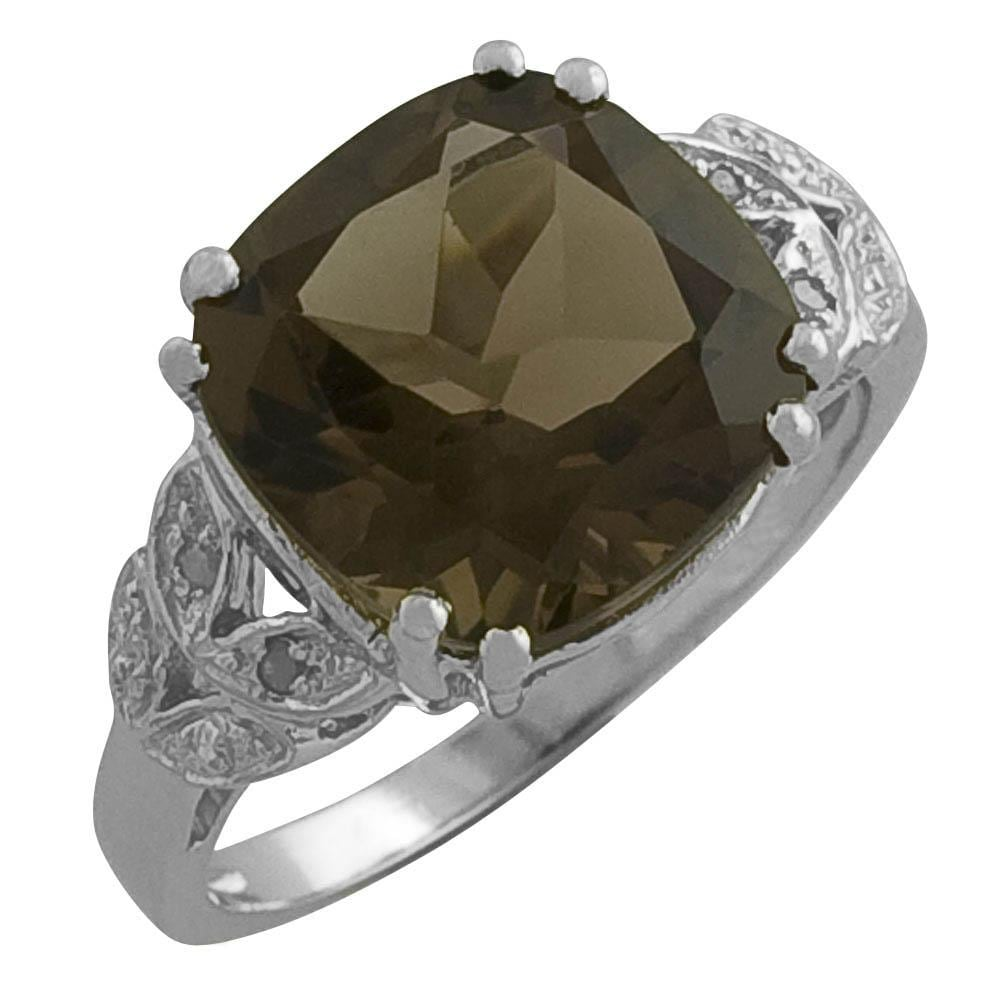 Sterling Silver Smokey Cushion-cut Quartz and Cubic Zirconia Ring