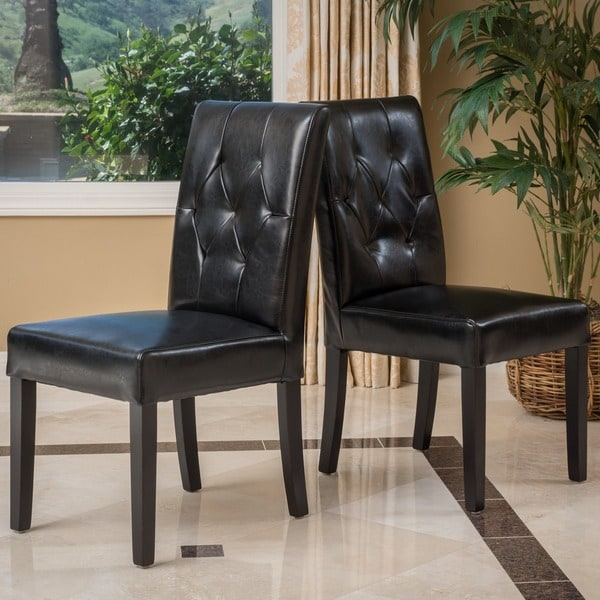 Gentry Bonded Leather Black Dining Chair (Set of 2) by Christopher Knight Home