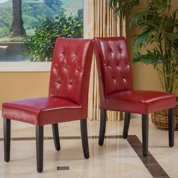 Gentry Bonded Leather Red Dining Chair (Set of 2) by Christopher Knight Home