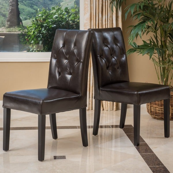 Gentry Bonded Leather Brown Dining Chair (Set of 2) by Christopher Knight Home