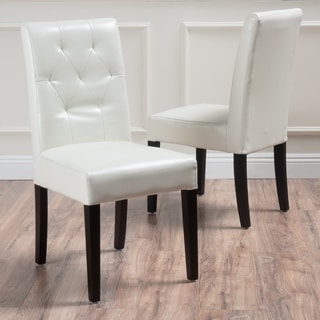 Gentry Bonded Leather Ivory Dining Chair (Set Of 2) By Christopher Knight  Home
