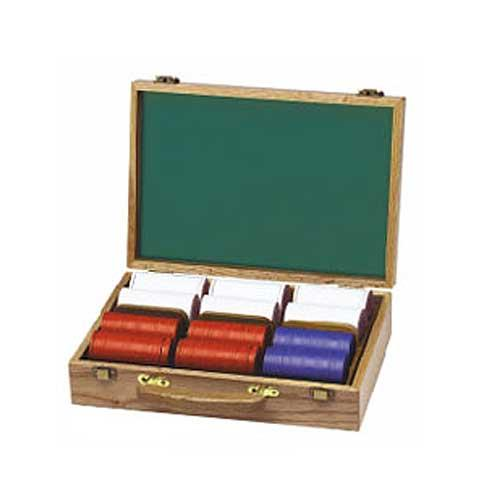 Oak Poker Chip Case with 300 Chips