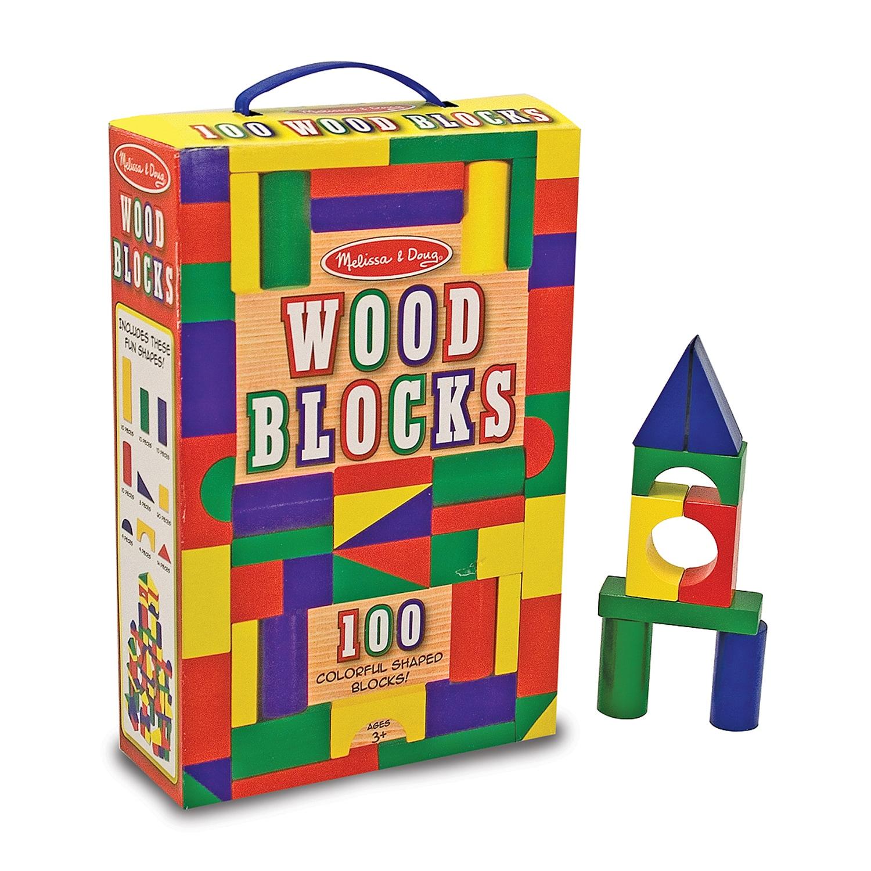 Melissa Doug Wooden Building Blocks Set Developmental Toy 100 Blocks In 4 Colors 9 Shapes 13 5 H X 3 5 W X 9 L