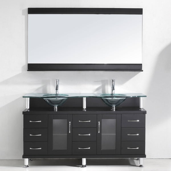 Virtu USA Vincente Rocco 59-inch Double Sink Bathroom Vanity Set with Faucets and Top Options