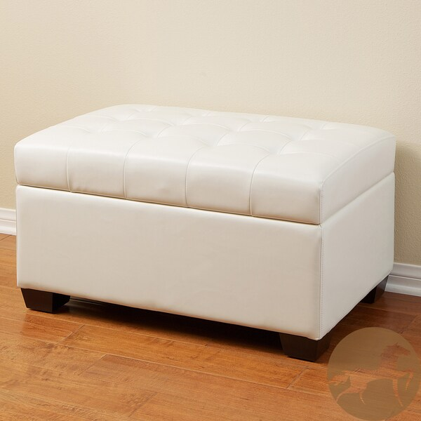 Lima Ivory Bonded Leather Storage Ottoman By Christopher