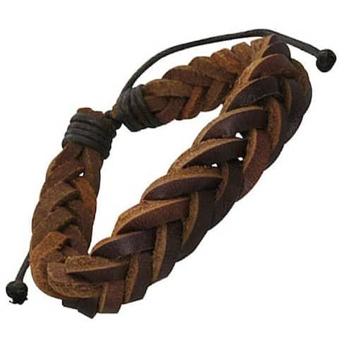 Genuine Leather Brown 'Unity Knot' Bracelet