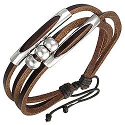 Genuine Leather Brown 'Beaded Fortune' Bracelet