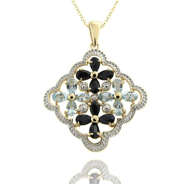 Dolce Giavonna 18k Gold over Silver Sapphire, Blue Topaz and Diamond Flower Necklace