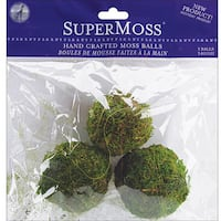 Pack of Three Hand-crafted SuperMoss 2.5-inch Green Moss Balls
