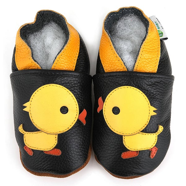 Yellow Duck Soft Sole Leather Baby Shoes